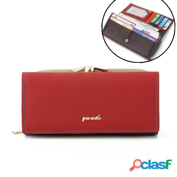 Qianxilu 9 carteira couro genuíno phone bolsa carteira casual para mulher