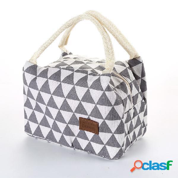Padrão geométrico saco de isolamento saco de gelo saco de gelo lunch box bag criativo portátil saco de piquenique