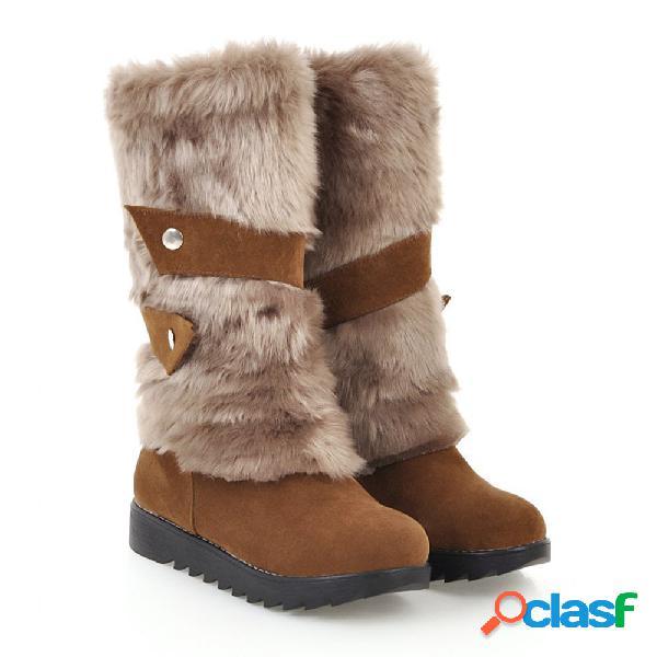 Tamanho grande furry costura mid bezerro slip on warm knee boots