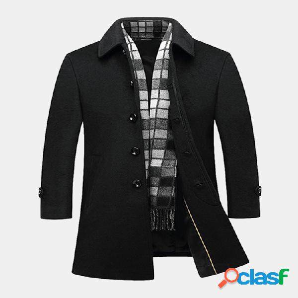 Gabardine preta masculina profissonal casual de lã meio-longa