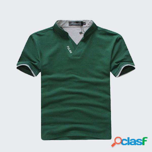 Mens summer solid golf camisa gola de manga curta t-shirt de algodão casual