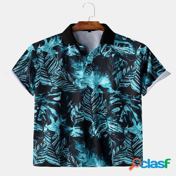 Mens tropical pant impresso slim fit manga curta camisa golf camisa