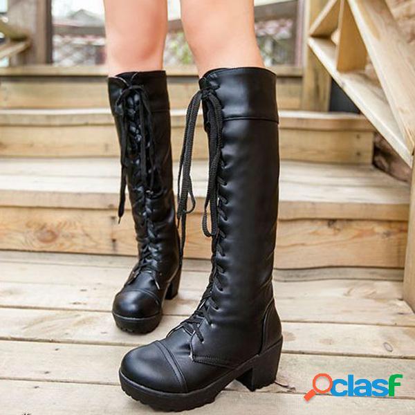 Knee high pure color lace up botas de calcanhar quadrado