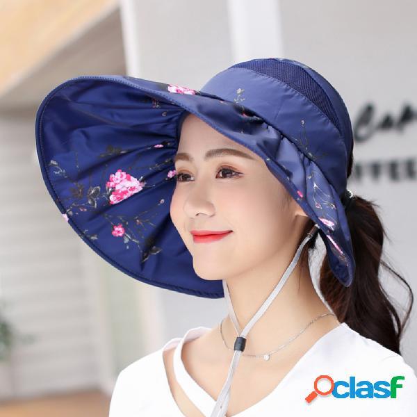 Pala de sol impressa top chapéu proteção solar para mulher
