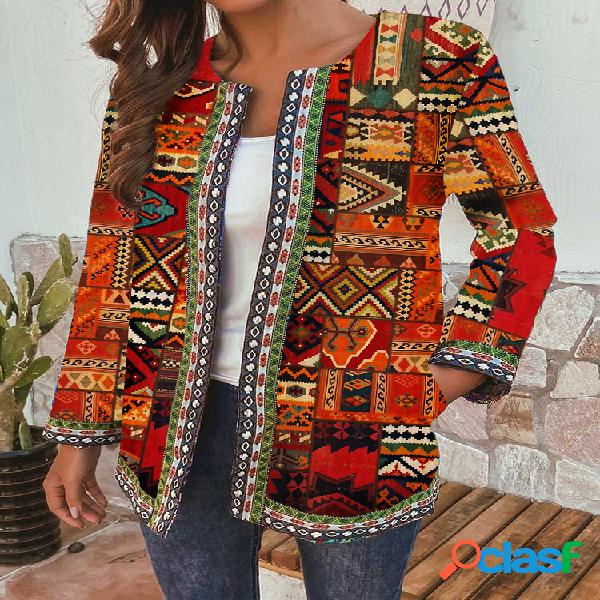 Jaquetas tamanho étnico com estampa floral plus