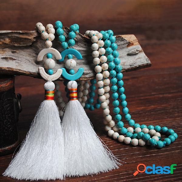 Bohemian 8mm contas de madeira colar longo azul branco turquesa frisado geométrico borla pingente colar