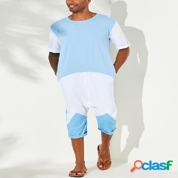 Homens algodão feitiço cor praia macacões casual respirável loungewear de manga curta terno da vida diária