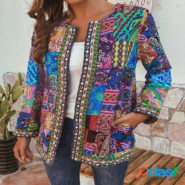 Jaquetas de algodão de estilo étnico de impressão floral plus