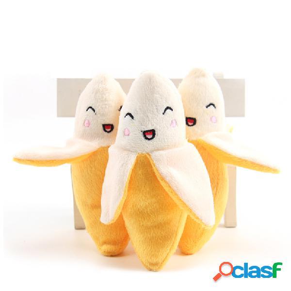 Cachorro brinquedo de pelúcia sorriso para animal de estimação único brinquedo de som de banana brinquedo de pelúcia