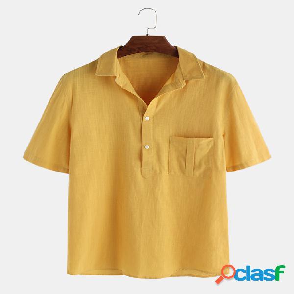 Mens algodão linho verão vintage camisa gola camisetas mangas curtas tops