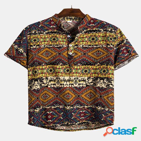 Mens estilo étnico impressão slim fit manga curta verão casual henley camisas