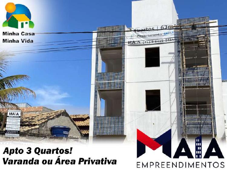 Apto 3qts (varanda/área privativa) próx à cidade