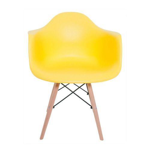 Cadeira charles melbourne com base de madeira amarela -