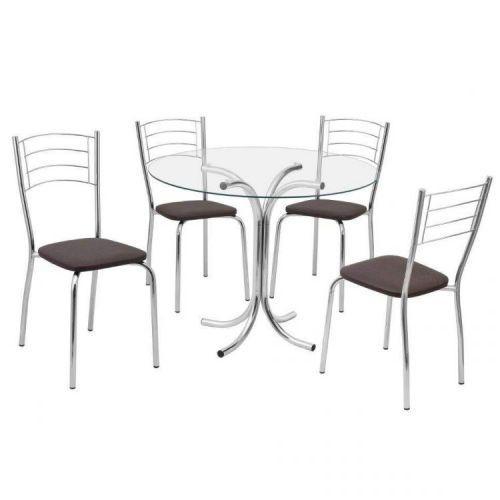 Conjunto mesa redonda tampo de vidro e 4 cadeiras assento