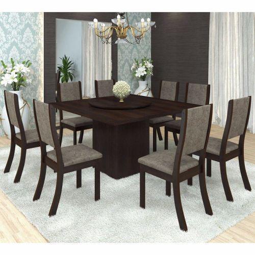 Conjunto para sala de jantar mesa e 8 cadeiras siena