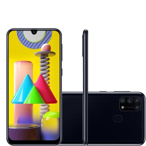 "Smartphone samsung galaxy m31 tela infinita de 6.4"" 128gb"