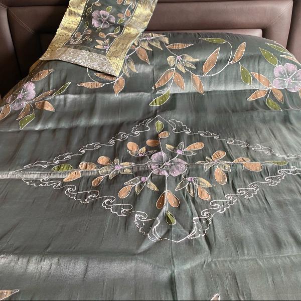 Capa/ colcha para edredon bordado indiano com 2 capas para