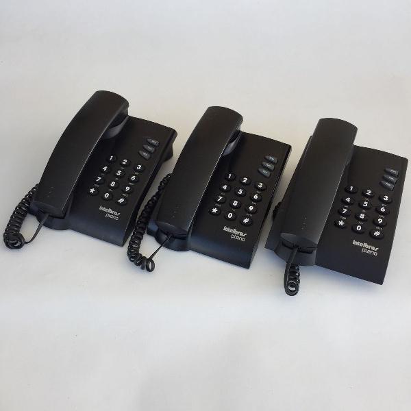 Lote kit 3 telefone com fio intelbras pleno preto