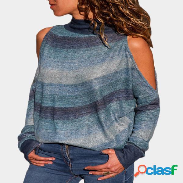 Azul aleatória listra ombro frio mangas compridas gola alta tee