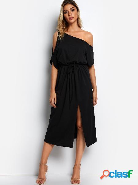 Black one shoulder slit hem dress