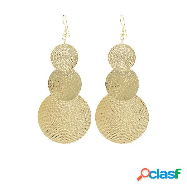 Gold exaggerated discs metal earrings