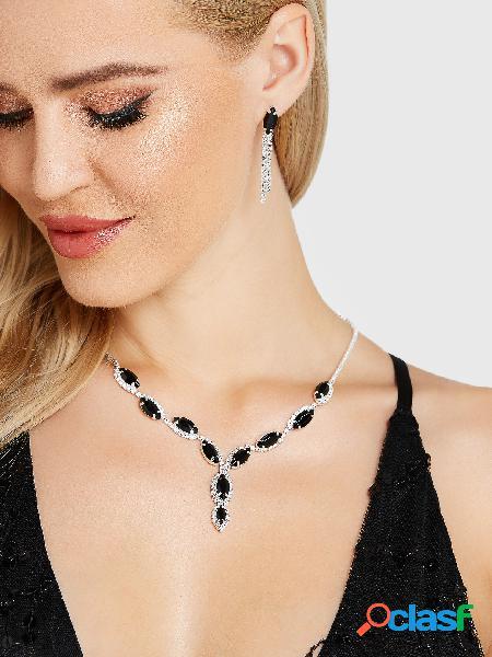 Black elegant crystal rhinestone necklace earring set