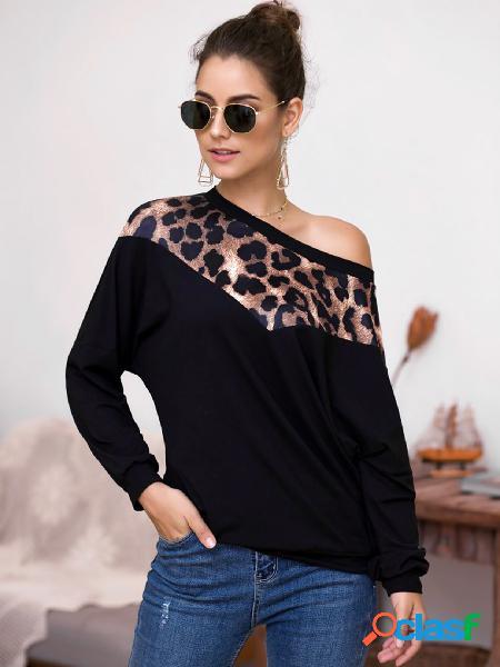 Black leopard one shoulder long sleeves sweatshirt