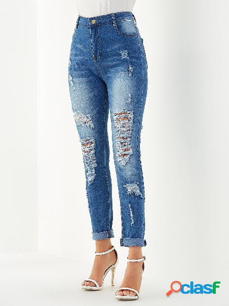 Blue pocket design ripped jeans