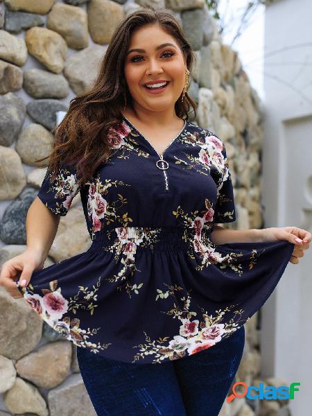 Plus blusa azul marinho com decote em v de estampa floral aleatória
