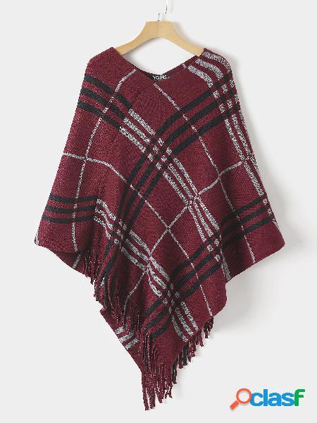 Red check tassel details shawl cloak knit top