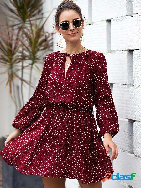 Red polka dot round neck lantern sleeves ruched dress