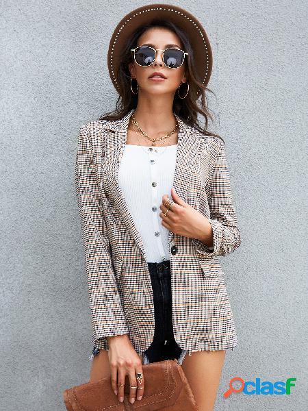 Yoins apricot check pocket design notch collar long sleeves blazer