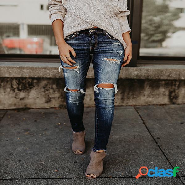 Azul aleatório rasgado detalhes jeans