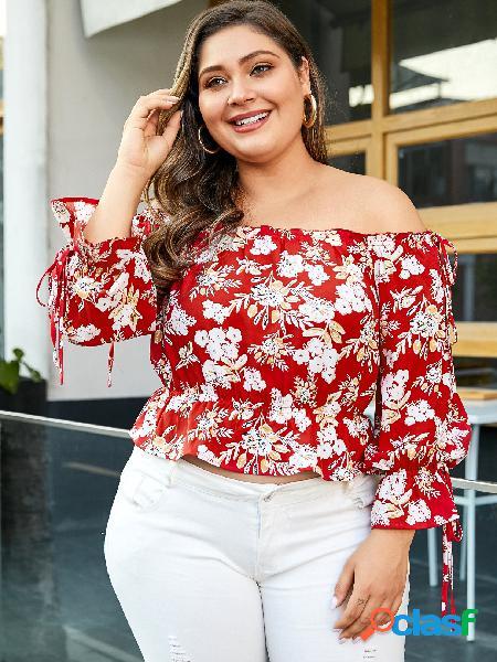 Yoins plus tamanho impressão floral vermelho fora da blusa ombro