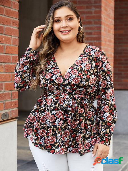 YOINS Plus Blusa preta de mangas compridas com estampa floral aleatória com decote em V