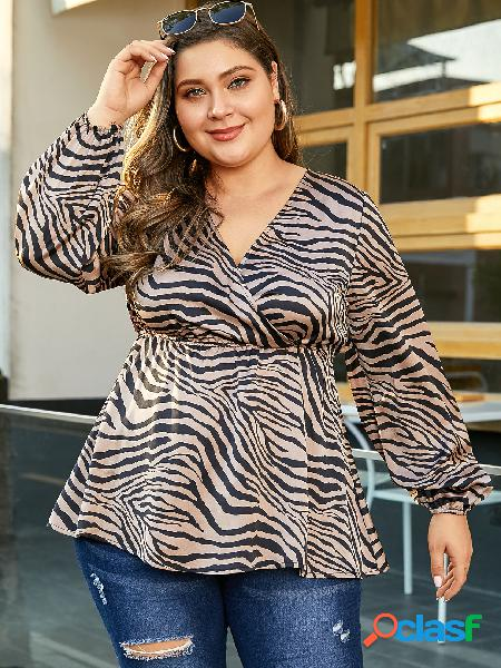 Yoins plus tamanho marrom cruzado frente zebra blusa de impressão