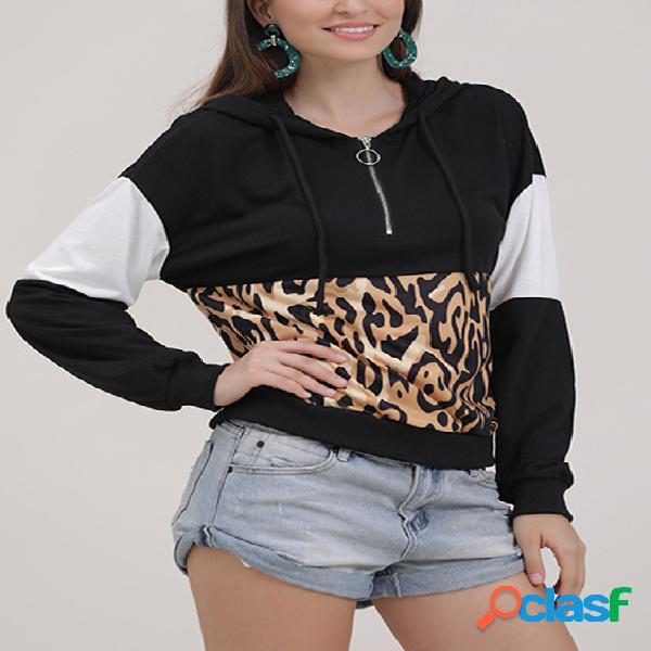 Preto patchwork mangas compridas leopard hoodie