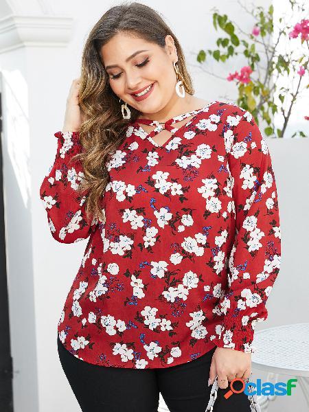 Yoins plus tamanho vermelho floral impressão decote em v blusa aleatória