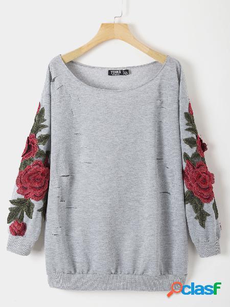 Cinza floral em torno do pescoço camisola de mangas compridas