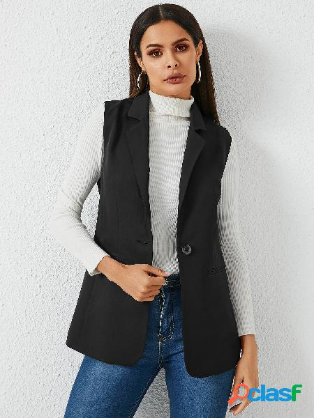 Yoins slit design one botton casaco de mangas curtas