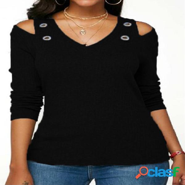 Camiseta de manga comprida básica de ombro frio preto