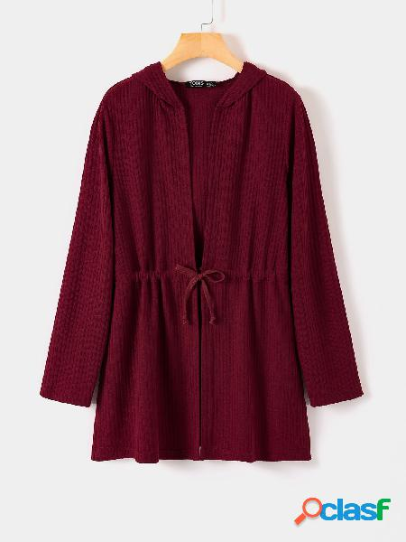 Yoins burgundy lace-up design cardigan de mangas compridas