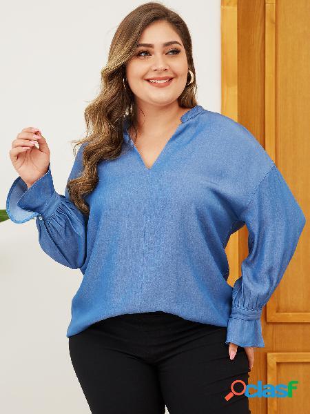 Yoins plus tamanho azul com decote em v mangas compridas blusa jeans