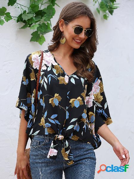Self-tie design blusa de mangas curtas com decote em v com estampa floral