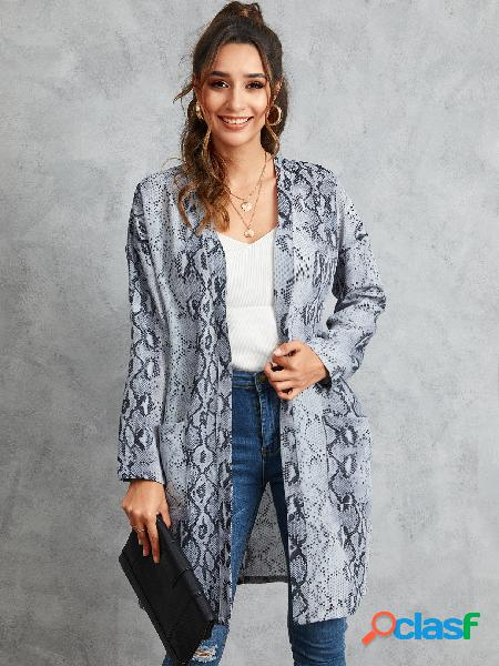 Yoins casaco de pele de cobra cinza com mangas compridas cardigan