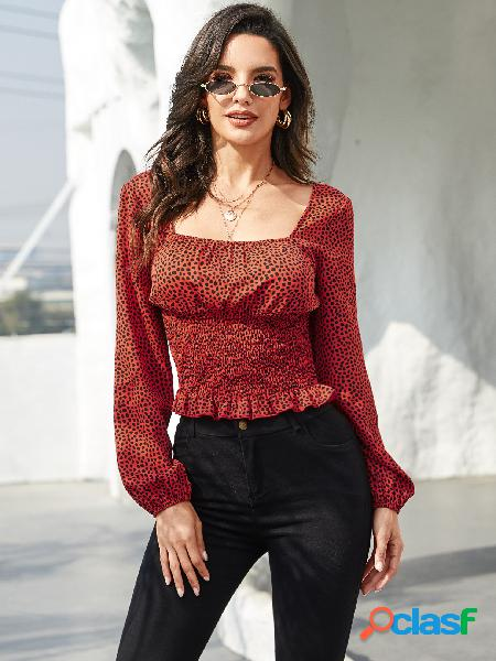 Blusa de mangas compridas yoins red leopard square neck shirred