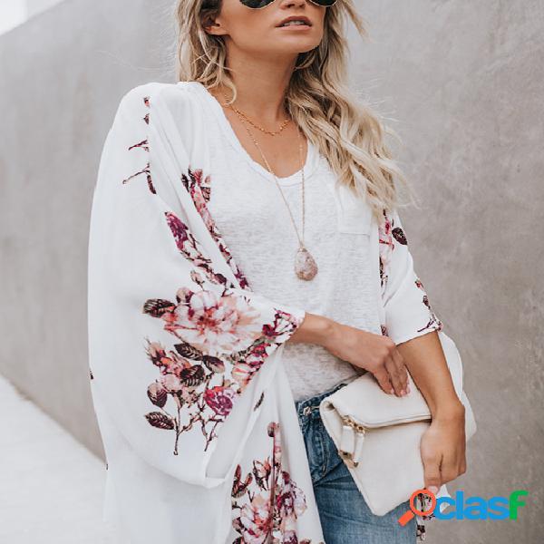 Cardigan de chiffon de frente aberta com estampa floral aleatória branca