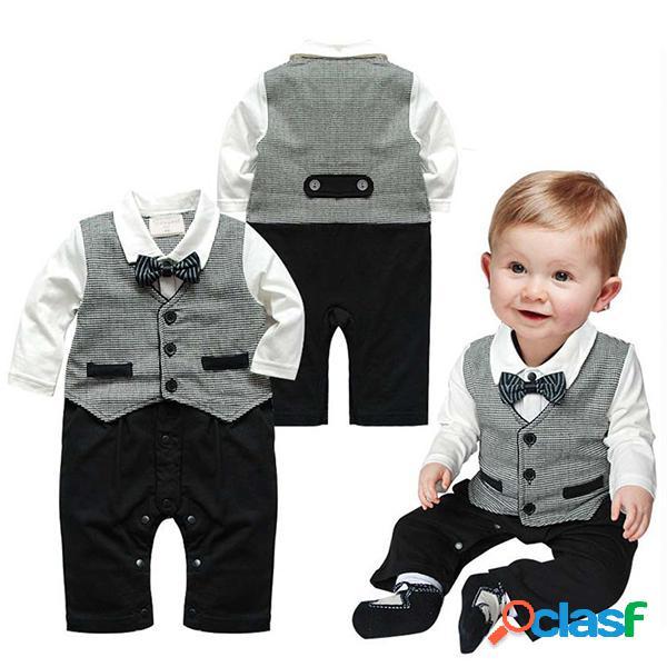 Cinza cavalheiro menino macacão terno formal para 6-24m