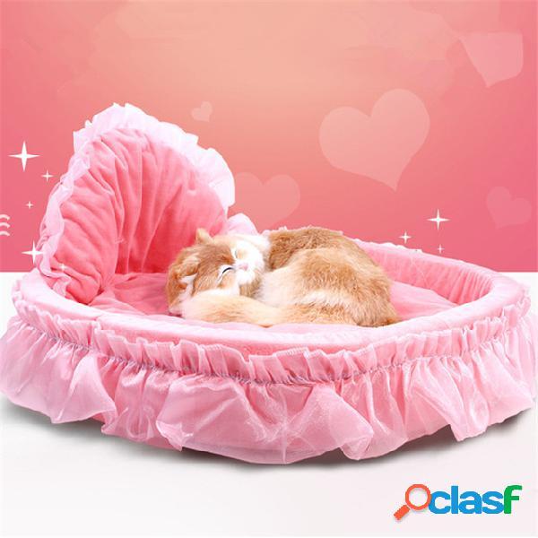 Luxo princess cat bed filhote de cachorro sofá roxo pink lace cat house pequeno cão kennel warm soft