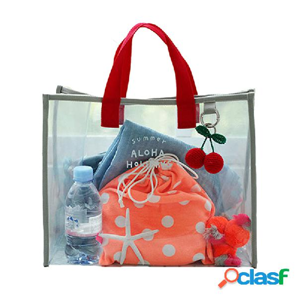 Transparente geléia praia pvc bolsa grande capacidade bolsa de ombro impermeável tote swimsuit recolher saco